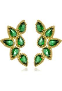 Brinco Ear Cuff Brooklyn Esmeralda Di Capri Semi Jóias X Ouro Dourado