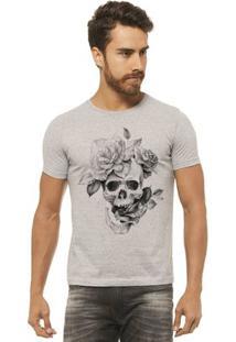 Camiseta Joss - Caveira Flor - Masculina - Masculino-Mescla