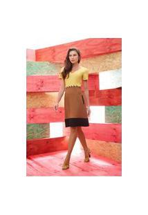 Vestido Ginestra Tricolor - Gi-9623-Amarelo