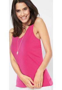 Blusa Canelada Com Decote V Pink
