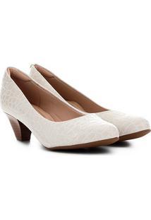 Scarpin Couro Modare Croco Salto Baixo - Feminino-Off White
