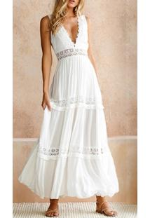 Vestido Branco Longo Verão De Renda