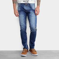 Calça Jeans Slim Gangster Puídos Masculina - Masculino-Azul f2c45431efe92