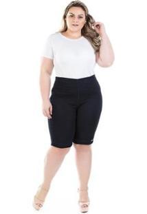 Bermuda Feminina Jeans Knit Com Zíper Lateral Plus Size - Feminino-Marinho