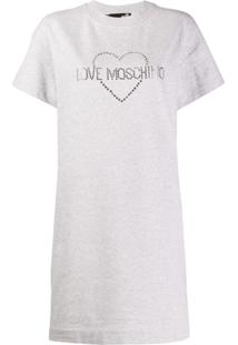 Love Moschino Vestido Com Tachas - Cinza