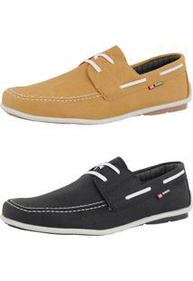 Kit Dockside Casual Sintético Sapatofran Lançamento Preto E Amarelo Cr Shoes