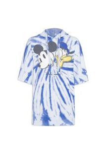 Blusa Feminina Moletom Tie Dye Com Capuz - Azul