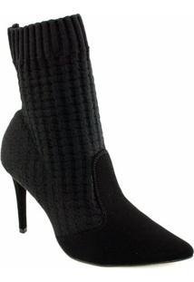 Bota Meia Knit Sapato Show - Feminino-Preto