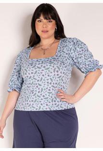 Blusa Floral Azul Com Mangas Bufantes Plus Size