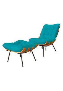 Combo Poltrona Decorativa Mais Puff Costela Suede Azul Turquesa - Ds Estofados