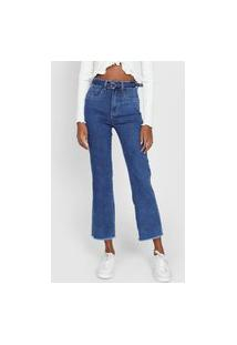 Calça Jeans Sawary Pantacourt Estonada Azul