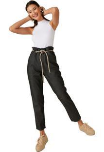 Calça Jeans Slim Cinto Cordão