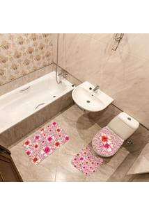 Jogo De Banheiro Floral Vermelho Único