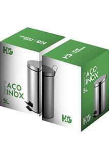 Lixeira De Aço Inox Redonda 5 Litros - Hg103002 - Home Garden - Lixeira De Aço Inox Redonda 5 Litros - Hg103002 - Home Garden