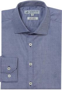 Camisa Dudalina Manga Longa Fio Tinto Maquinetado Masculina (Azul Medio, 42)