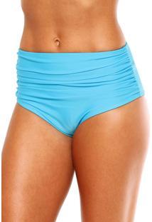 Calcinha Blue Horse Paola Hot Pants Retro Franzido Lycra Mareia Azul