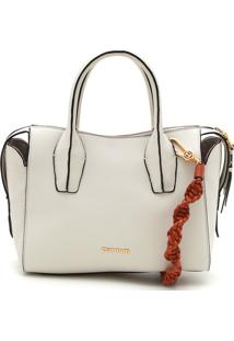 Bolsa Couro Carmim Color Block Off-White