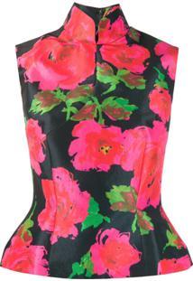Richard Quinn Peplum Hem Floral Print Blouse - Preto