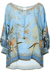 Camilla Fairy Fountain Silk Blouse - Azul