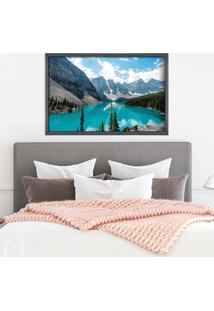 Quadro Love Decor Com Moldura Lago Azul Grafitti Metalizado Grande