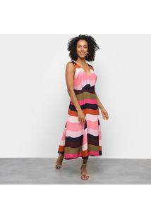 Vestido Longo Cantão Multi Color - Feminino-Estampado
