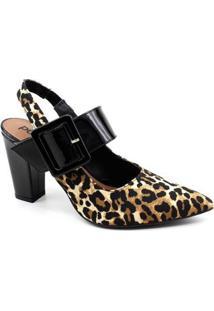 Sapato Chanel Eléia Onça Verniz Feminino - Feminino-Preto