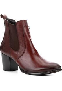 Bota Chelsea Shoestock Salto Alto Feminina - Feminino-Caramelo
