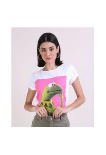 Blusa Feminina Com Estampa Do Sapo Caco Manga Curta Decote Redondo Off White