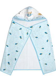 Toalha De Banho Era Uma Vez Para Bebê Papi Com Capuz E Forro Azul Aventura