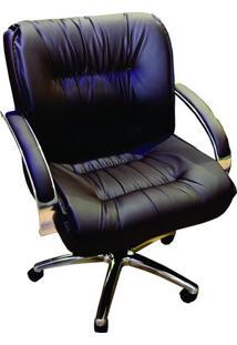 Cadeira Poltrona Extra Grande Netuno Gerente - Cor Preta Sintético