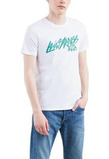 Camiseta Levis Logo Wordmark Stylized Masculina - Masculino-Branco