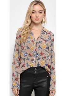 Camisa Manga Longa Lily Fashion Floral Feminina - Feminino-Bege