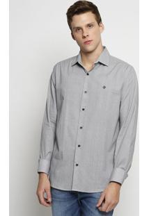 Camisa Slim Fit Abstrata- Branca & Preta- Forumforum