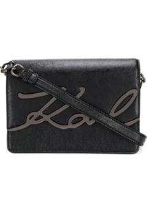 Karl Lagerfeld Signature Logo Plaque Crossbody Bag - Preto
