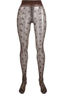 Fendi Meia-Calça Com Estampa De Logo - Marrom