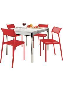 Sala De Jantar Carraro 1541 109/160+4 Cadeiras Vermelho