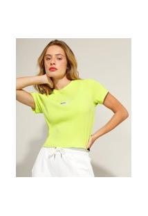 Blusa Cropped Canelada Com Bordado Manga Curta Decote Redondo Pantone Verde