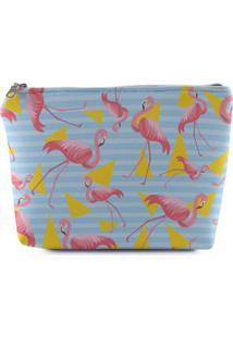 Necessaire Meu Primeiro Quartinho Grande Flamingo Azul