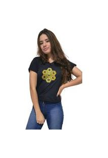Camiseta Feminina Gola V Cellos Honey Premium Preto