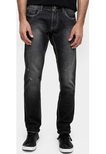 Calça Jeans Skinny Sawary Stone Puídos Masculina - Masculino