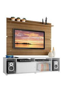Rack Madesa Cancun E Painel Para Tv Até 65 Polegadas - Branco/Rustic Branco