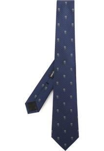 Alexander Mcqueen Gravata De Seda Estampada - Azul
