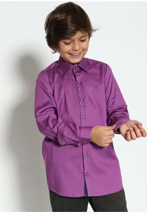 Camisa Lisa Com Bordado & Botões - Roxa & Azul Marinhoogochi