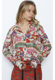 Camisa Floral & Pã¡Ssaros- Vermelha & Verdelez A Lez
