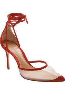 Scarpin Com Recortes & Amarraã§Ã£O- Vermelho- Salto: 8Schutz