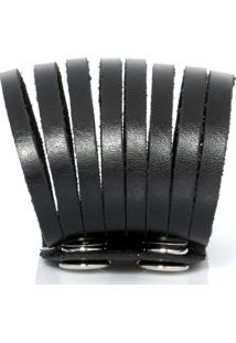 Bracelete Galeria Do Rock Tiras - Unissex-Preto