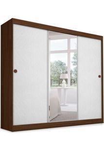Guarda-Roupa Casal Com Espelho Donna 3 Pt Corino Estofado Ipê E Branco