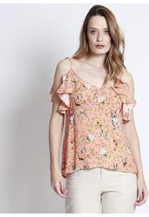 Blusa Floral Com Babado & Vazado- Laranja Claro & Verde