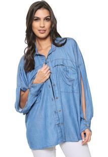 Camisa Jeans Osmoze Recortes Azul