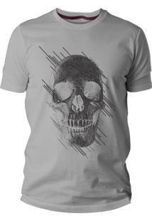 Camiseta Criativa Urbana Caveira Estilizada Cinza Mescla Manga Curta